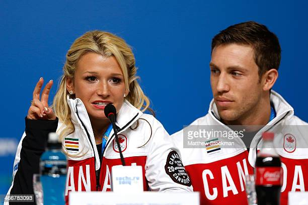 Kristen MooreTowers and Dylan Moscovitch attend a Canada Figure Skating pairs press conference ahead of the Sochi 2014 Winter Olympics at the Main...