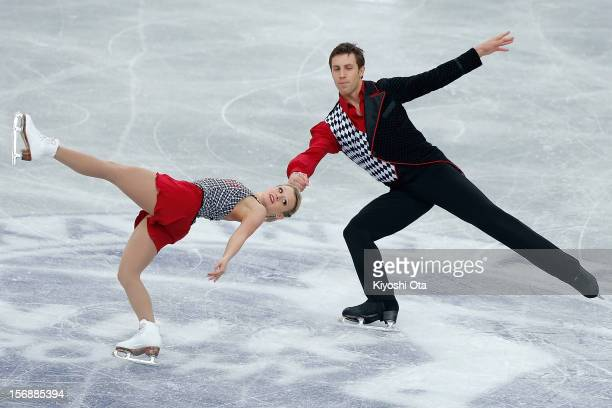 Kristen MooreTowers and Dylan Moscovitch of Canada compete in the Pairs Short Program during day two of the ISU Grand Prix of Figure Skating NHK...