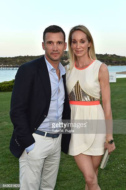 Kristen Pazik and Andriy Shevchenko attend the Gala Dinner during The Costa Smeralda Invitational golf tournament at Pevero Golf Club Costa Smeralda...