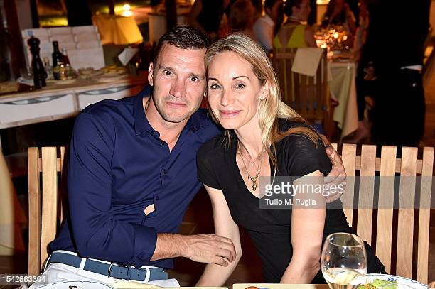 Kristen Pazik and Andriy Shevchenko attend the Welcome Dinner prior to The Costa Smeralda Invitational golf tournament at Pevero Golf Club Costa...