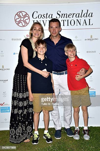 Kristen Pazik Jordan Shevchenko Andriy Shevchenko and Christian Shevchenko attend the Welcome Dinner prior to The Costa Smeralda Invitational golf...