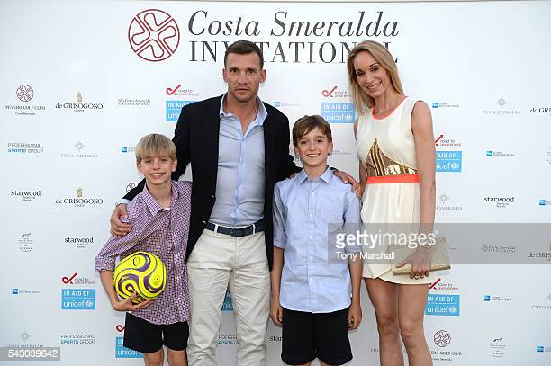 Kristen Pazik Jordan Shevchenko Andriy Shevchenko and Christian Shevchenko attend the Gala Dinner during The Costa Smeralda Invitational golf...