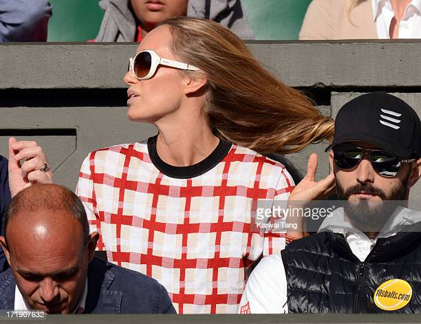 Kristen Pazik wife of Andriy Schevchenko attends the Novak Djokovic vs Jeremy Chardy match on Day 6 of the Wimbledon Lawn Tennis Championships at the...