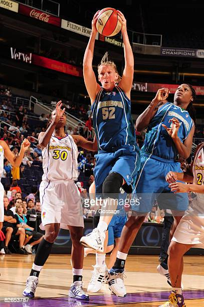 Kristen Rasmussen of the Minnesota Lynx rebounds against LaToya Pringle of the Phoenix Mercury at US Airways Center September 3 2008 in Phoenix...