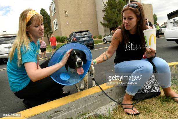 Kristen Rochester left pets Kush owned by the mother of Ashley Bering right who miraculously survived a deadly apartment complex fire at the Westbury...