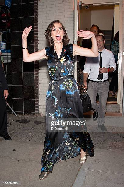 "Kristen Schaal is seen departing the final episode of ""The Daily Show with Jon Stewart"" at The Daily Show Building on August 6, 2015 in New York City."