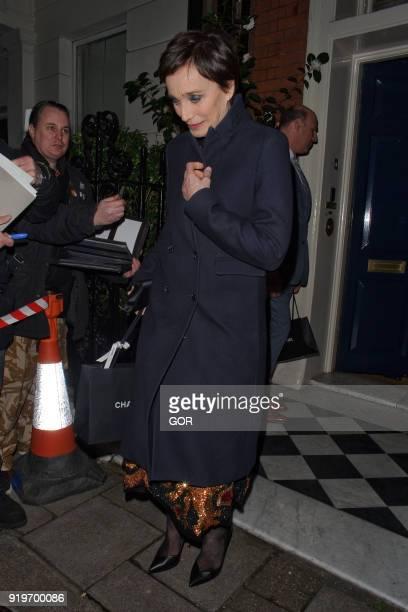 Kristen ScottThomas attending pre Bafta dinner at Marks club Mayfair on February 17 2018 in London England