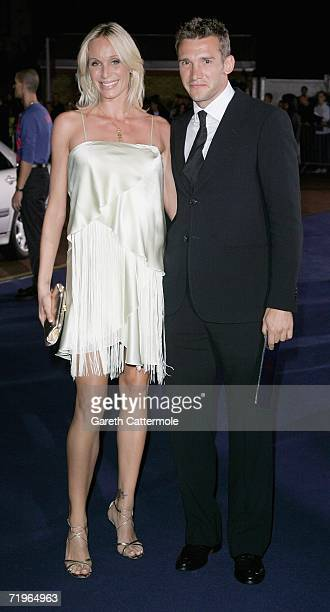 Kristen Shevchenko and Andriy Shevchenko arrive at the Emporio Armani One Night Only Fashion show at Earls Court as part of London Fashion Week...
