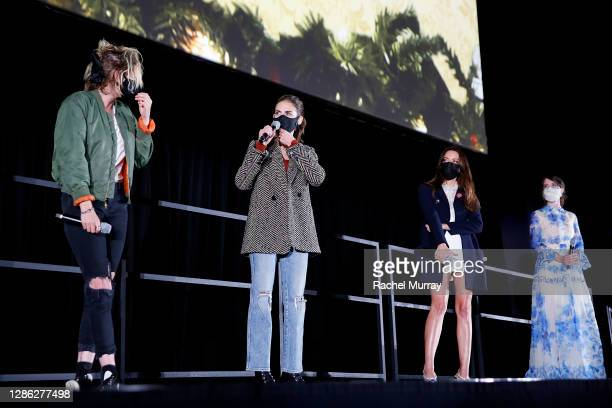 """Kristen Stewart, Alison Brie, Aubrey Plaza, and Mary Holland speak at Hulu """"Happiest Season"""" Drive-In Premiere at The Grove on November 17, 2020 in..."""