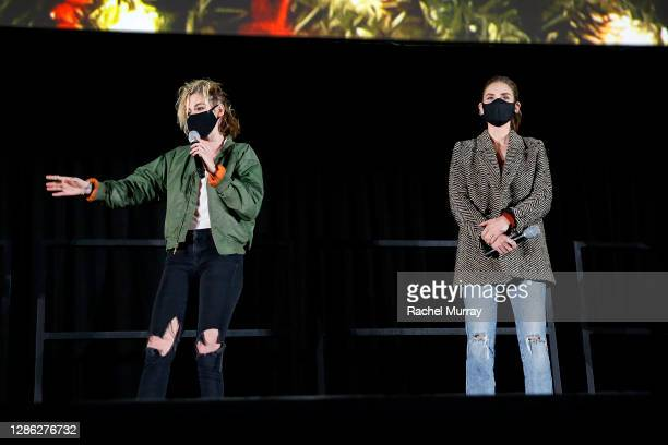 "Kristen Stewart and Alison Brie speak at Hulu ""Happiest Season"" Drive-In Premiere at The Grove on November 17, 2020 in Los Angeles, California."