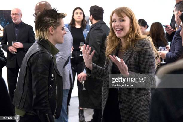 Kristen Stewart and Bryce Dallas Howard attend the 'Anton Yelchin Provocative Beauty' Opening Night Exhibition at De Buck Gallery on December 13 2017...
