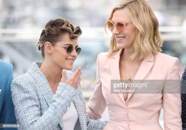 Kristen Stewart and Cate Blanchett attend the photocall for Jury during the 71st annual Cannes Film Festival at Palais des Festivals on May 8 2018 in...