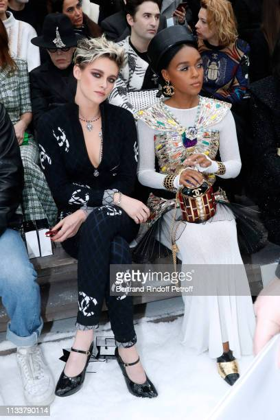 Kristen Stewart and Janelle Monae attend the Chanel show as part of the Paris Fashion Week Womenswear Fall/Winter 2019/2020 on March 05 2019 in Paris...