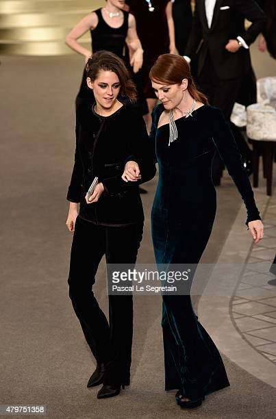 Kristen Stewart and Julianne Moore attend the Chanel show as part of Paris Fashion Week Haute Couture Fall/Winter 2015/2016 on July 7 2015 in Paris...
