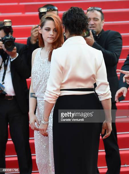 Kristen Stewart and Juliette Binoche attend the 'Clouds Of Sils Maria' Premiere during the 67th Annual Cannes Film Festival on May 23 2014 in Cannes...
