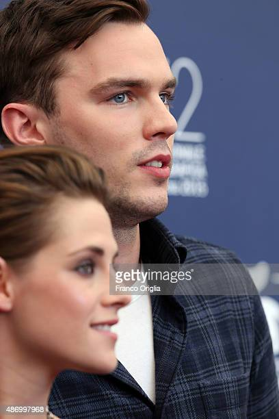 Kristen Stewart and Nicholas Hoult attend a photocall for 'Equals' during the 72nd Venice Film Festival at Palazzo del Casino on September 5 2015 in...