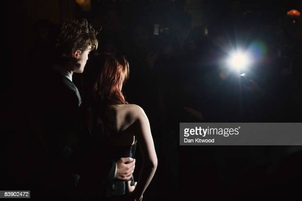 Kristen Stewart and Robert Pattinson arrive to the UK film premiere of 'Twilight' at the Vue Cinema in Leicester Square on December 03 2008 in London...