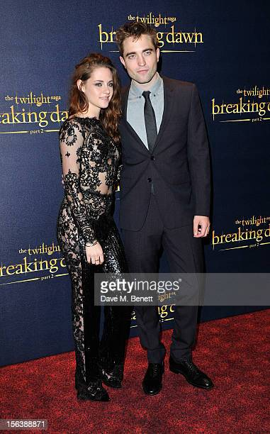 Kristen Stewart and Robert Pattinson attends the UK Premiere of 'The Twilight Saga Breaking Dawn Part 2' at Odeon Leicester Square on November 14...