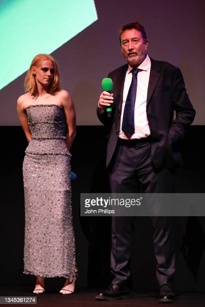 """Kristen Stewart and Steven Knight attend """"Spencer"""" UK Premiere during the 65th BFI London Film Festival at The Royal Festival Hall on October 07,..."""