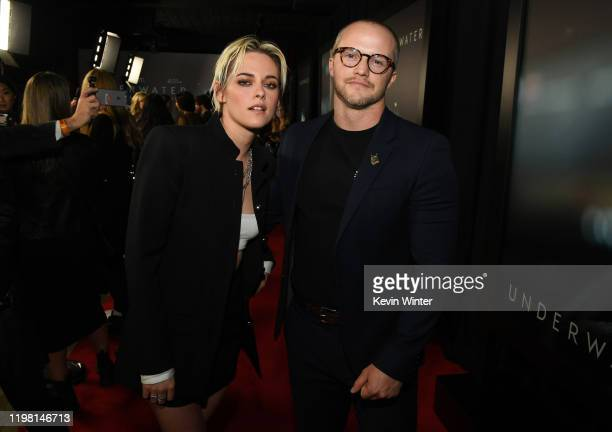 """Kristen Stewart and William Eubank attend a special fan screening of 20th Century Fox's """"Underwater"""" at Alamo Drafthouse Cinema on January 07, 2020..."""