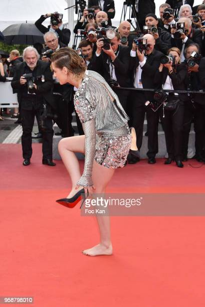 Kristen Stewart attend the screening of 'Blackkklansman' during the 71st annual Cannes Film Festival at Palais des Festivals on May 14 2018 in Cannes...