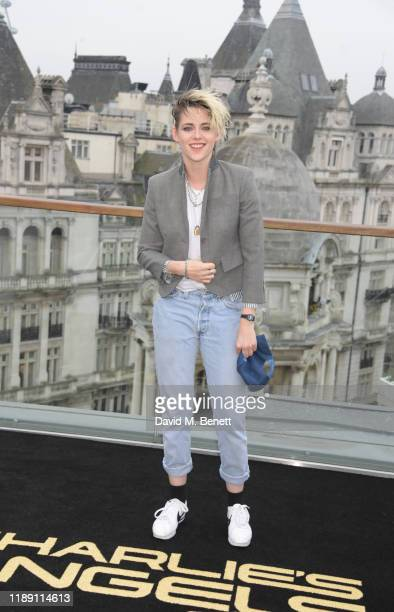 """Kristen Stewart attends a photocall for """"Charlie's Angels"""" at The Corinthia Hotel London on November 21, 2019 in London, England."""