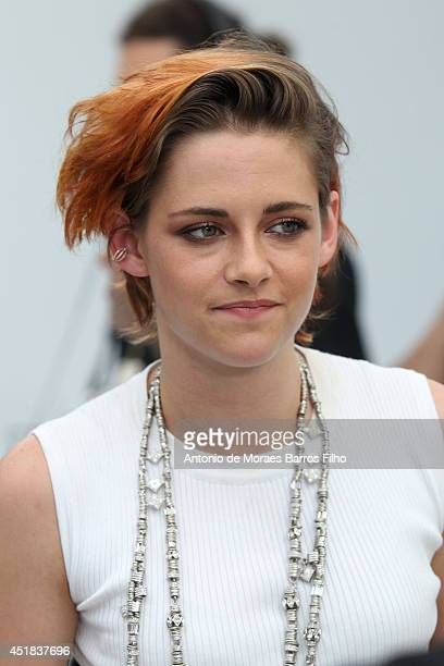 Kristen Stewart attends at Chanel show as part of Paris Fashion Week - Haute Couture Fall/Winter 2014-2015 at Grand Palais on July 8, 2014 in Paris,...