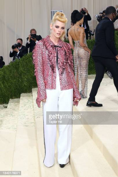 """Kristen Stewart attends the 2021 Met Gala benefit """"In America: A Lexicon of Fashion"""" at Metropolitan Museum of Art on September 13, 2021 in New York..."""