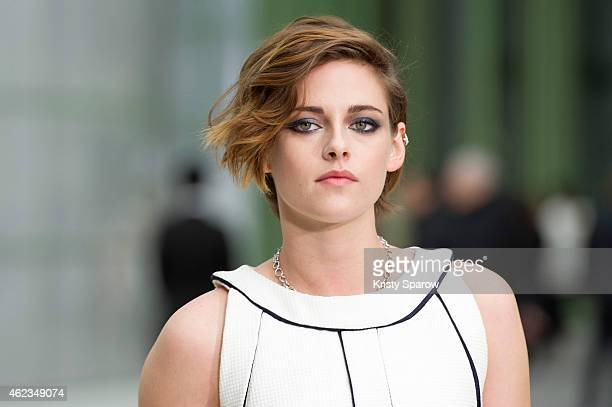 Kristen Stewart attends the Chanel show as part of Paris Fashion Week Haute Couture Spring/Summer 2015 at the Grand Palais on January 27, 2015 in...
