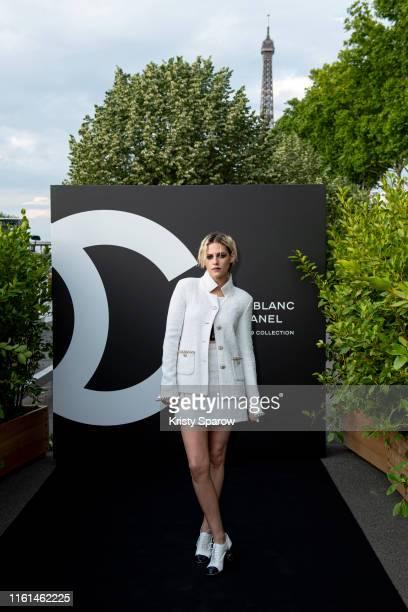 Kristen Stewart attends the Noir et Blanc de Chanel Fall/Winter 2019 Makeup Collection Yachts De Paris on July 11 2019 in Paris France