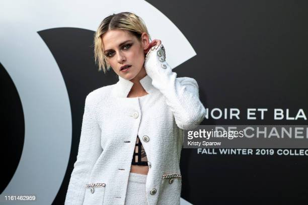 Kristen Stewart attends the Noir et Blanc de Chanel Fall/Winter 2019 Makeup Collection - Yachts De Paris on July 11, 2019 in Paris, France.