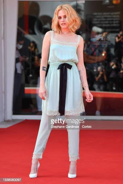 "Kristen Stewart attends the red carpet of the movie ""Spencer"" during the 78th Venice International Film Festival on September 03, 2021 in Venice,..."
