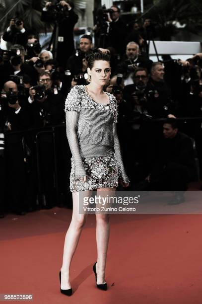 Kristen Stewart attends the screening of 'BlacKkKlansman' during the 71st annual Cannes Film Festival at Palais des Festivals on May 14 2018 in...