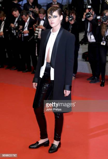 """Kristen Stewart attends the screening of """"Knife + Heart """" during the 71st annual Cannes Film Festival at Palais des Festivals on May 17, 2018 in..."""