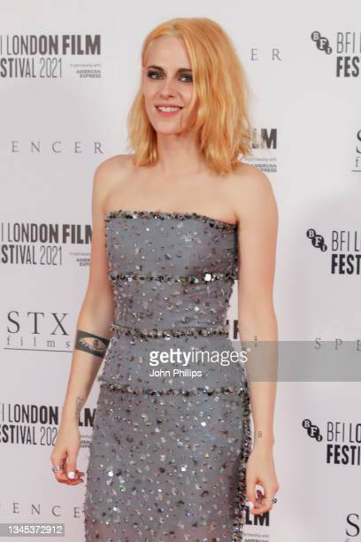 """Kristen Stewart attends the """"Spencer"""" UK Premiere during the 65th BFI London Film Festival at The Royal Festival Hall on October 07, 2021 in London,..."""