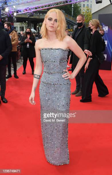 """Kristen Stewart attends the UK Premiere of """"Spencer"""" during the 65th London Film Festival at The Royal Festival Hall on October 7, 2021 in London,..."""