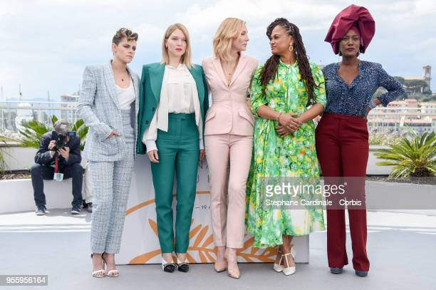 Kristen Stewart Ava DuVernay Jury head Cate Blanchettt Lea Seydoux and Khadja Nin attend the Jury photocall during the 71st annual Cannes Film...