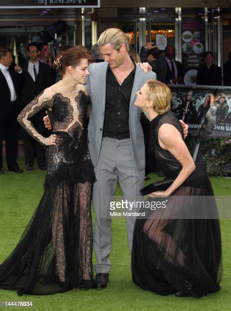 Kristen Stewart, Charlize Theron and Chris Hemsworth attend the world premiere of Snow White and the Huntsman at Empire Leicester Square on May 14,...