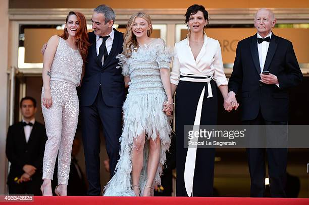 Kristen Stewart director Olivier Assayas Chloe Grace Moretz Juliette Binoche and President of the Cannes Film Festival Gilles Jacob attend the...