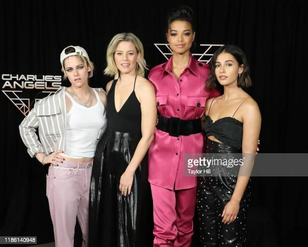 """Kristen Stewart, Elizabeth Banks, Ella Balinska, and Naomi Scott attend a photocall for """"Charlie's Angels"""" at the Whitby Hotel on November 07, 2019..."""