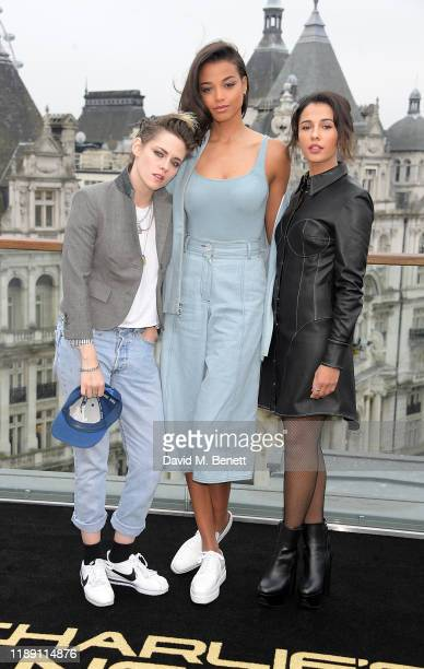 Kristen Stewart Ella Balinska and Naomi Scott attend a photocall for Charlie's Angels at The Corinthia Hotel London on November 21 2019 in London...