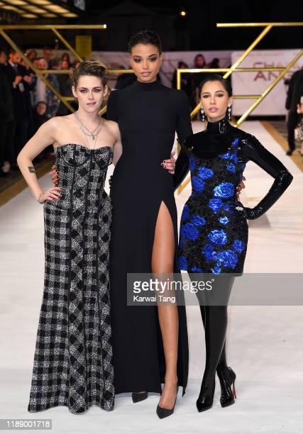 "Kristen Stewart, Ella Balinska and Naomi Scott attend the ""Charlie's Angels"" UK Premiere at The Curzon Mayfair on November 20, 2019 in London,..."