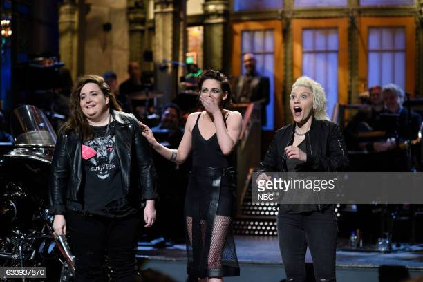 LIVE 'Kristen Stewart' Episode 1717 Pictured Aidy Bryant host Kristen Stewart and Kate McKinnon during the Monologue on February 4th 2017