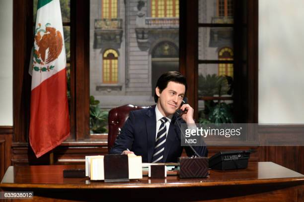 """Kristen Stewart"""" Episode 1717 -- Pictured: Alex Moffat as Mexican President Enrique Peña Nieto during the Oval Office Cold Open on February 4th, 2017..."""