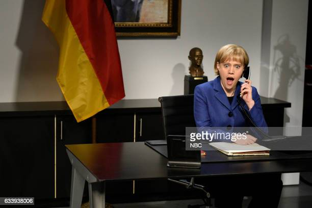 LIVE 'Kristen Stewart' Episode 1717 Pictured Kate McKinnon as German Chancellor Angela Merkel during the Oval Office Cold Open on February 4th 2017