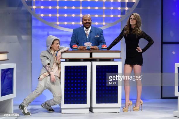 LIVE Kristen Stewart Episode 1717 Pictured Kate McKinnon as Justin Bieber Kenan Thompson as Steve Harvey host Kristen Stewart as Gisele Bündchen...