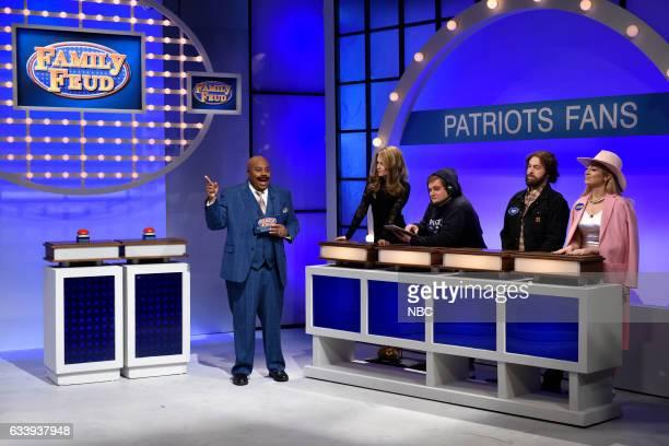 LIVE 'Kristen Stewart' Episode 1717 Pictured Kenan Thompson as Steve Harvey host Kristen Stewart as Gisele Bündchen Bobby Moynihan as Bill Belichick...