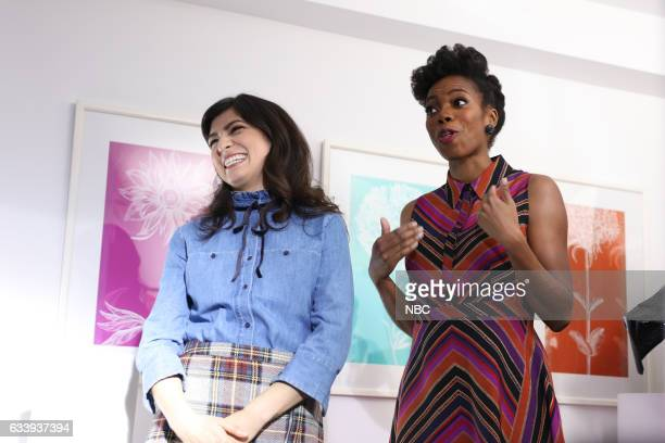 LIVE 'Kristen Stewart' Episode 1717 Pictured Melissa Villaseñor and Sasheer Zamata during the 'Meet Cute' sketch on February 2 2017