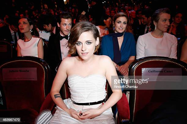 Kristen Stewart Gaspard Ulliel and Julie Gayet attend the 40th Cesar Film Awards 2015 Ceremony at Theatre du Chatelet on February 20 2015 in Paris...