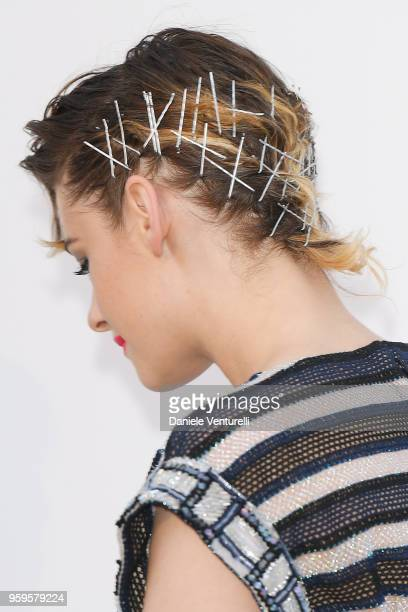 Kristen Stewart hair detail arrives at the amfAR Gala Cannes 2018 at Hotel du CapEdenRoc on May 17 2018 in Cap d'Antibes France